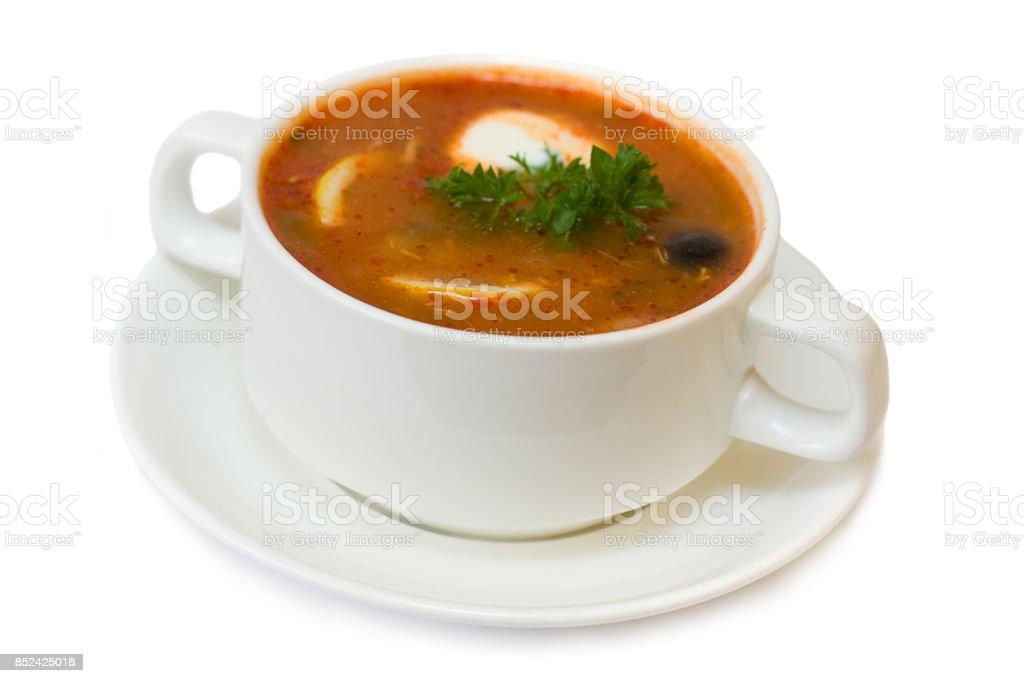Solyanka soup isolated - russian and ukrainian cuisine stock photo