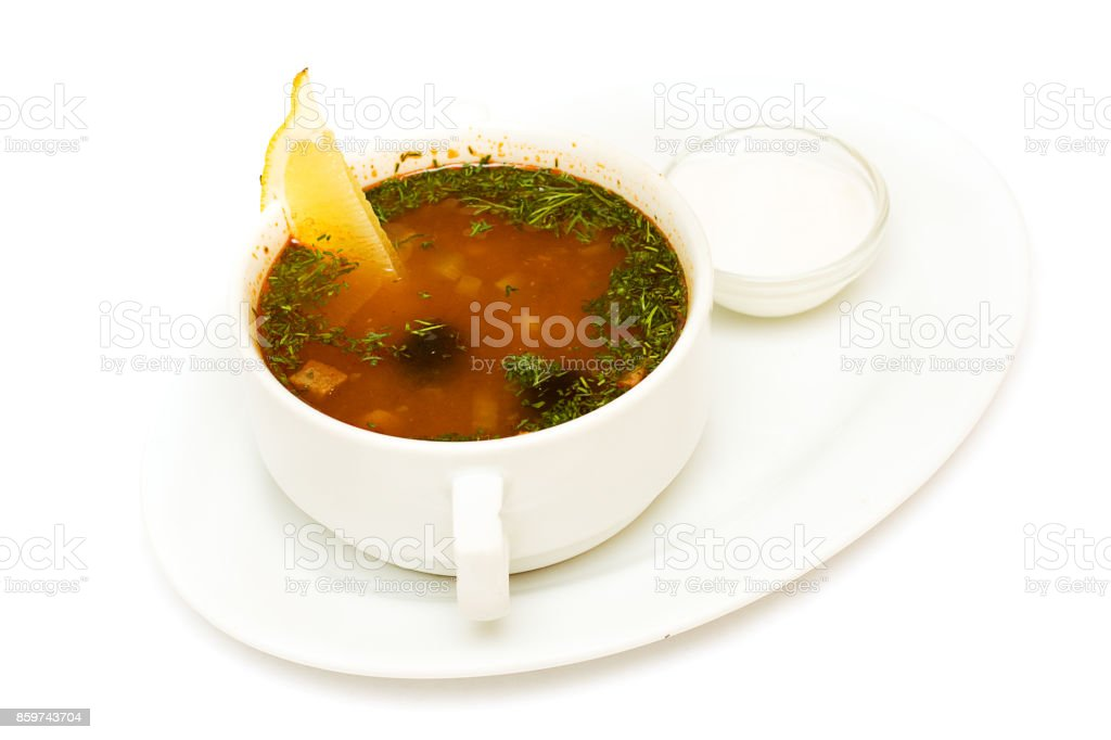 Solyanka soup, russian cuisine on white stock photo