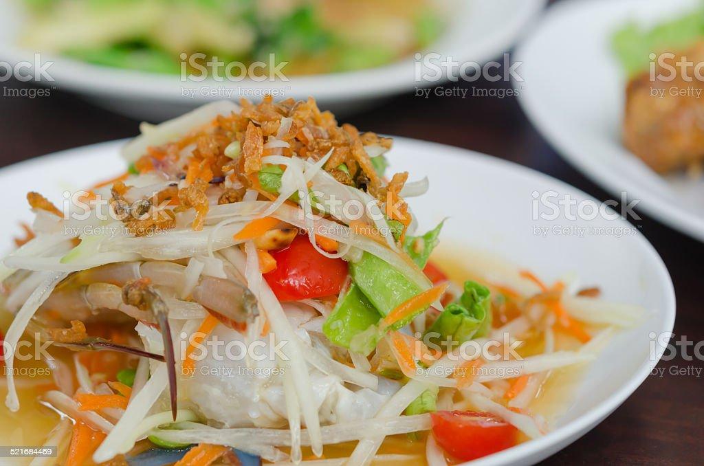 Som Tum with crab stock photo
