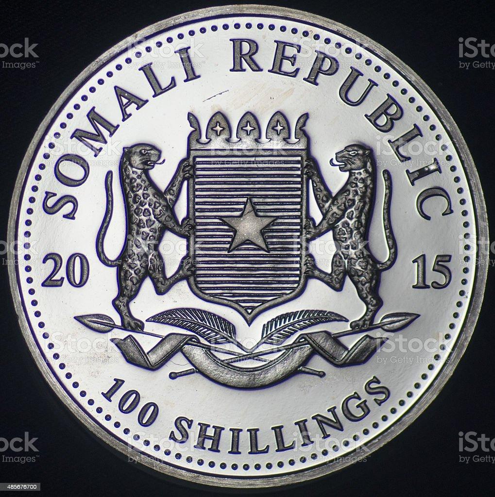 Somali Republic Silver Coin (2015 - Obverse) stock photo