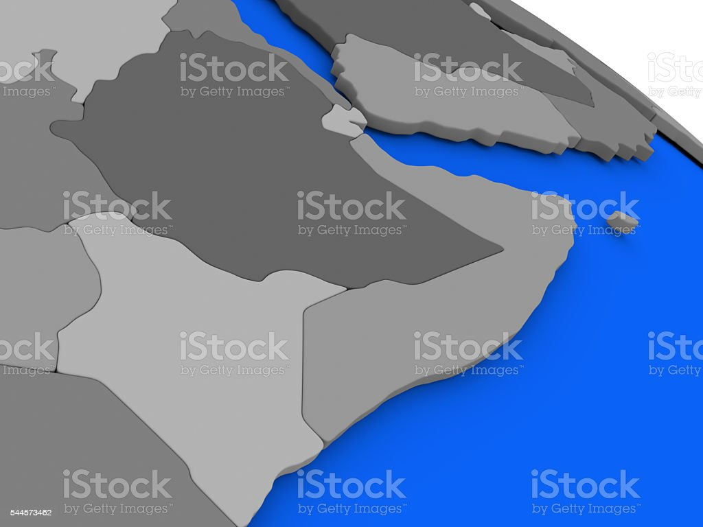 Somalia And Ethiopia On Political Earth Model Stock Photo