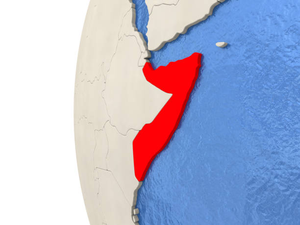 somalia on 3d globe - horn of africa stock photos and pictures