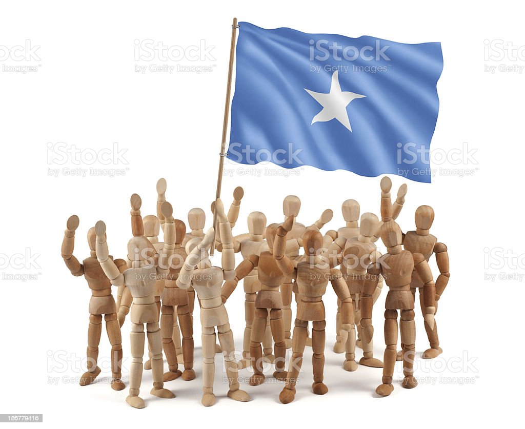 Somalia - wooden mannequin group with flag royalty-free stock photo