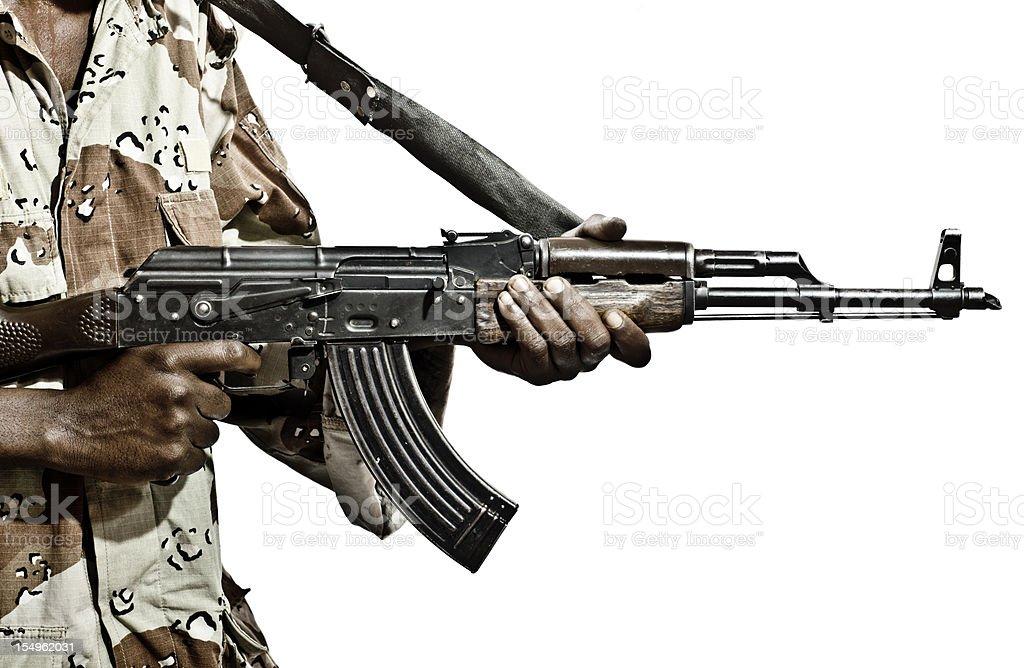 Somalian Soldier with a Machine Gun stock photo