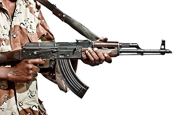 Somalian Soldier with a Machine Gun stock photo