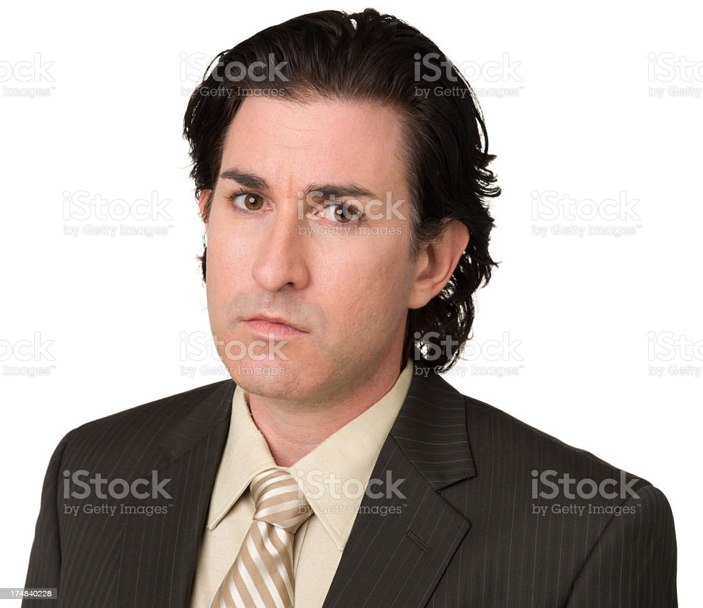 Somber Man Close Up Portrait royalty-free stock photo