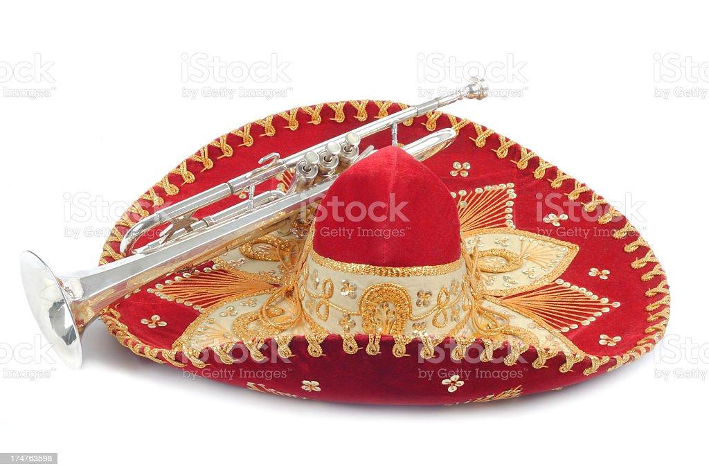 Sombrero and trumpet royalty-free stock photo