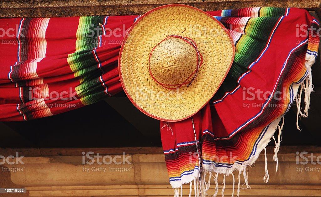 Sombrero Mexican Blanket Hat royalty-free stock photo