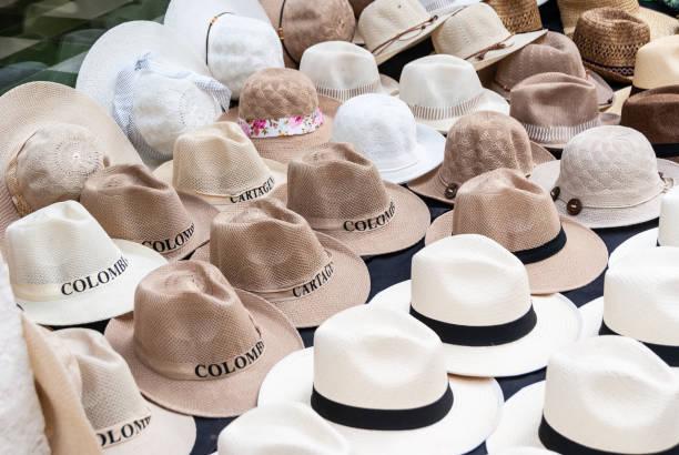 sombreros, puesto ambulante cartagena de indias - ambulante foto e immagini stock