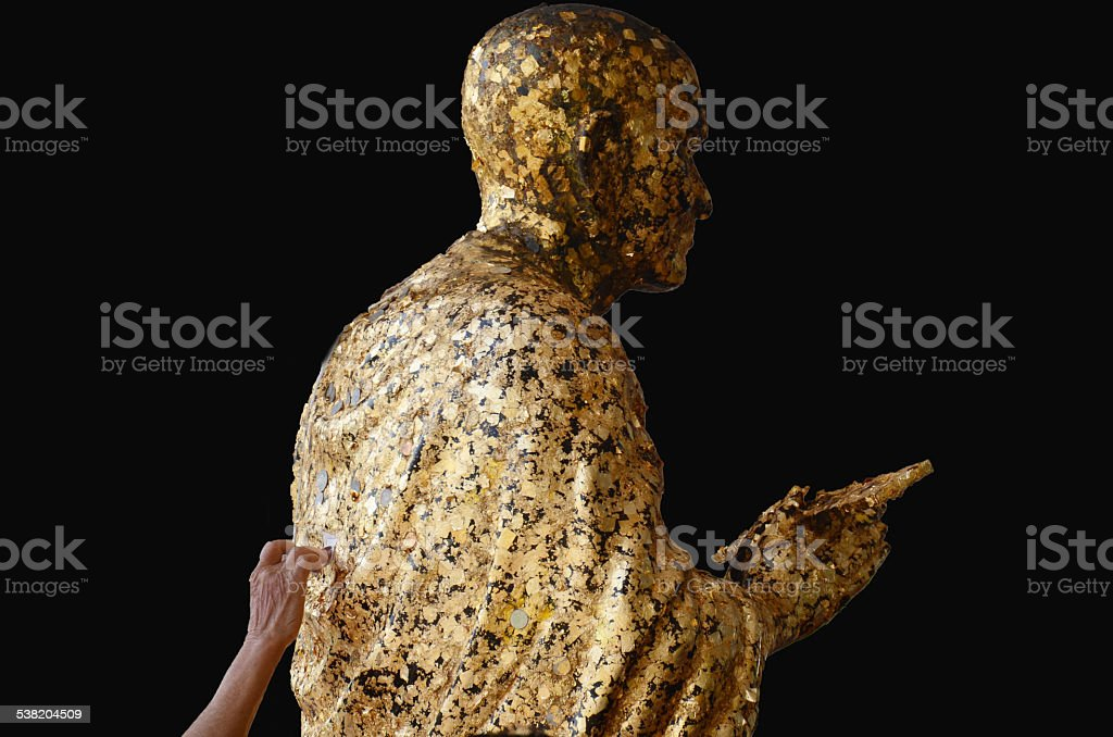 Somdej Toh statue location at Wat Bot Temple in Pathumthani stock photo