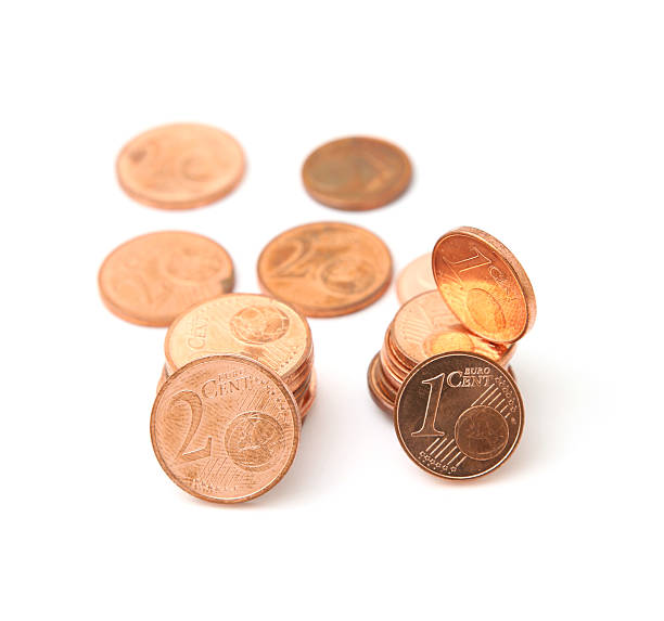 Some 1 and 2 Euro Cents stock photo