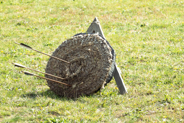 Some arrows nailed in a straw target for training with arrows and spears stock photo