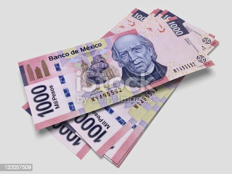 3D render of one thousand pesos bills with sharp focus.