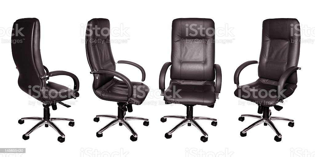 Some black leather armchairs in different foreshortening stock photo