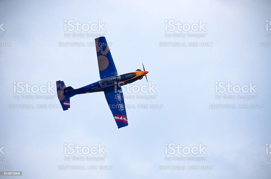 Some blue plane on Radom Airshow, Poland stock photo