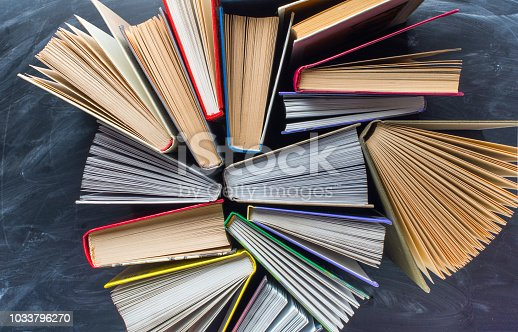 istock Some books on the desk over the blackboard 1033796270
