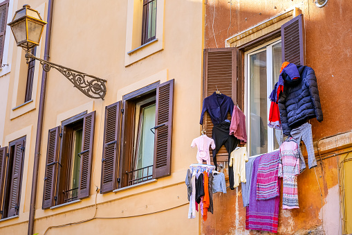 Some clothes hanging in the sun outside a house in the Jewish quarter of Rome