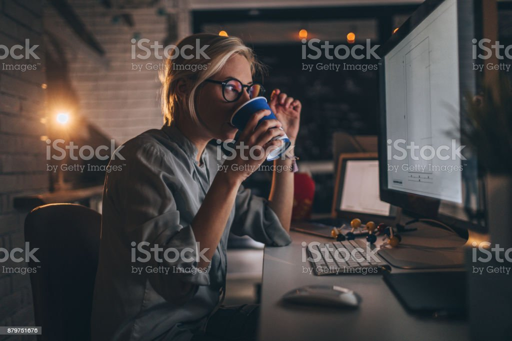 Some coffee for a late night shift stock photo