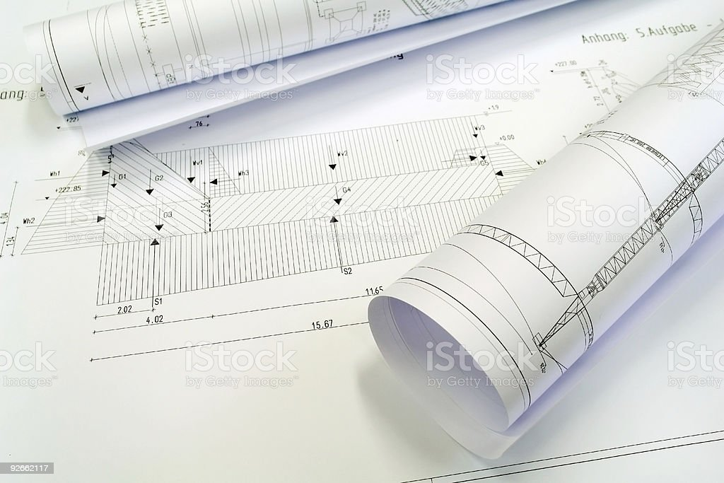 Some Construction Plans royalty-free stock photo