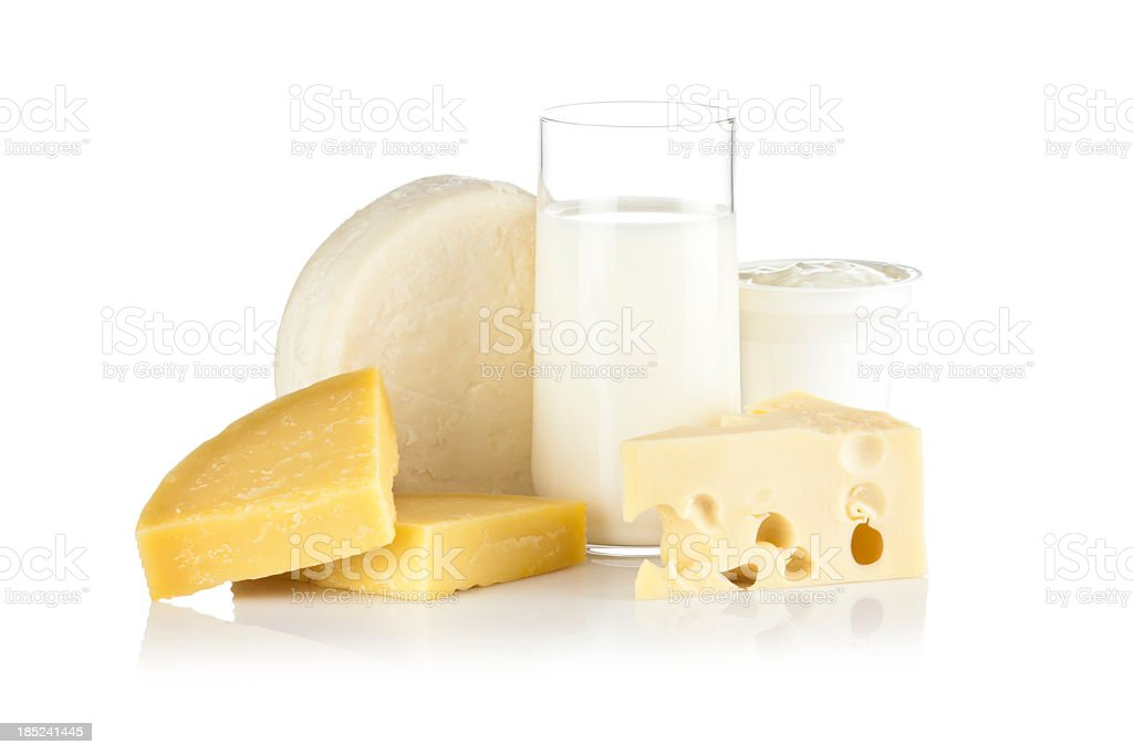 Some dairy products shot on reflective white background stock photo
