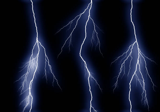 Some different lightning bolts isolated on black stock photo