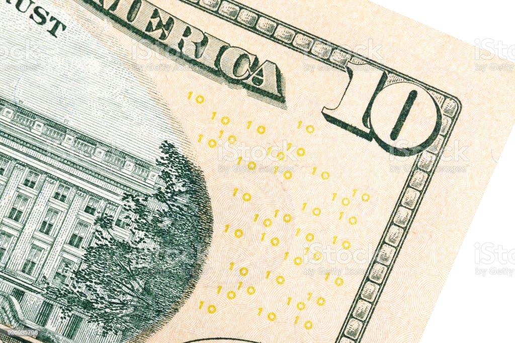 Alguns elementos na endro 10 dólares dos Estados Unidos. Isolado - foto de acervo