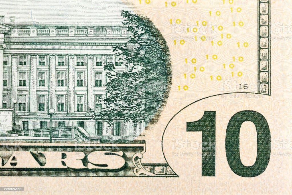 Alguns elementos na endro 10 dólar de E.U. - foto de acervo