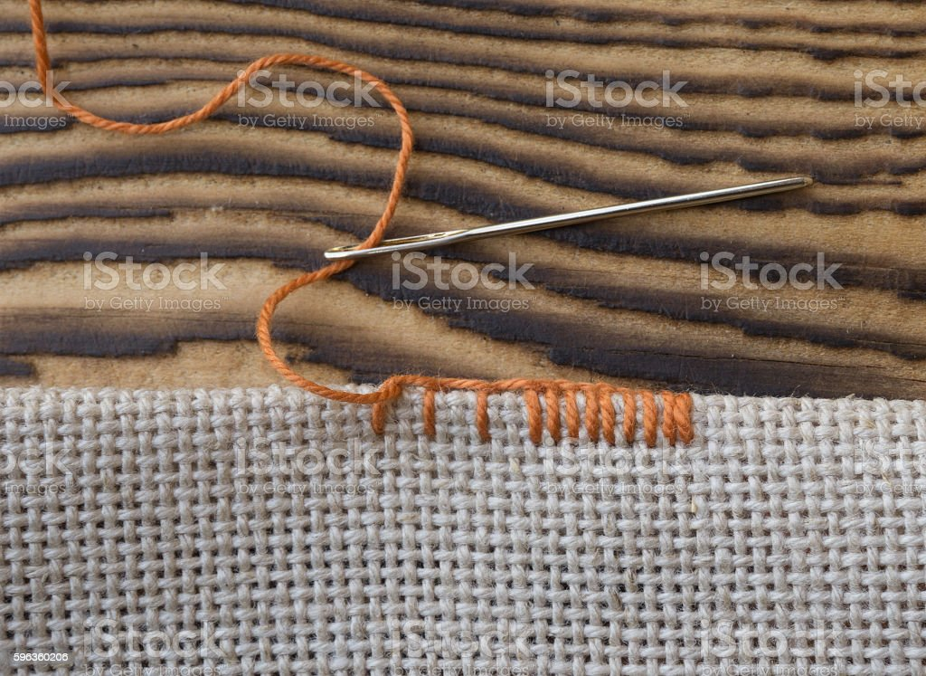 Some embroidery stitches on the canvas royalty-free stock photo