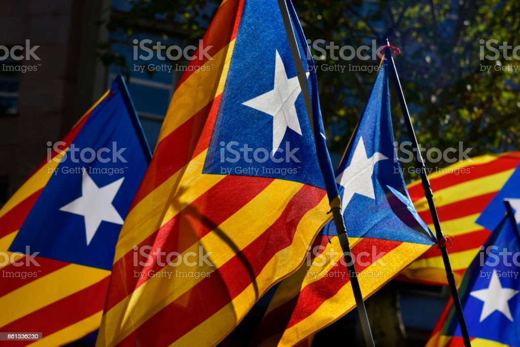 some estelada, the catalan pro-independence flag stock photo