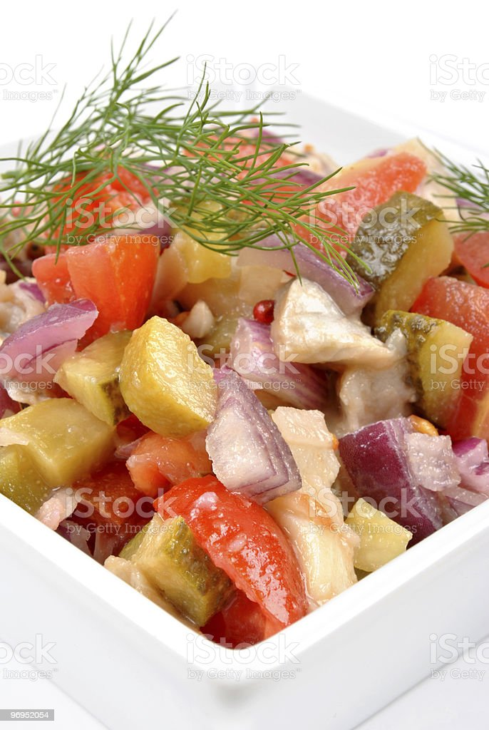 some fresh organic herring salad  in a bowl royalty-free stock photo