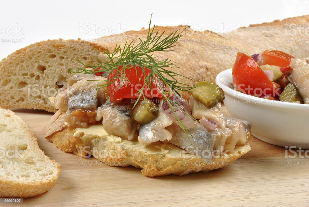 some fresh organic herring salad on bread royalty-free stock photo