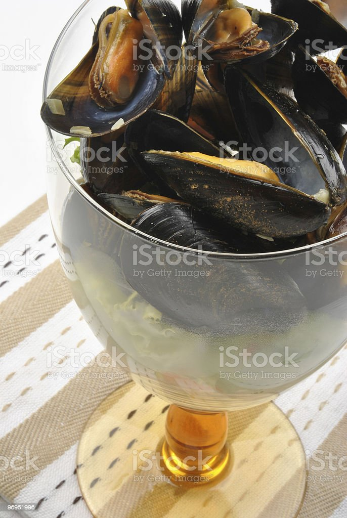 some fresh organic mussel in garlic butter royalty-free stock photo