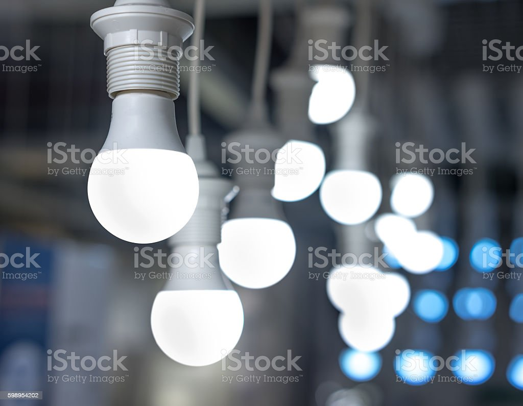 some led lamps blue light science technology background stock photo