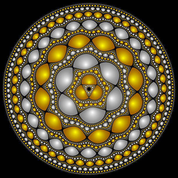 round fractasl design suitable for fantasy medieval shield - whiteway fractal stock photos and pictures