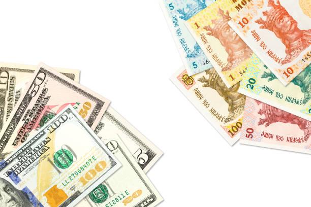 einige moldawische Leu-Banknoten und amerikanische Dollar-Banknoten, die auf bilaterale Wirtschaftsbeziehungen hinweisen – Foto