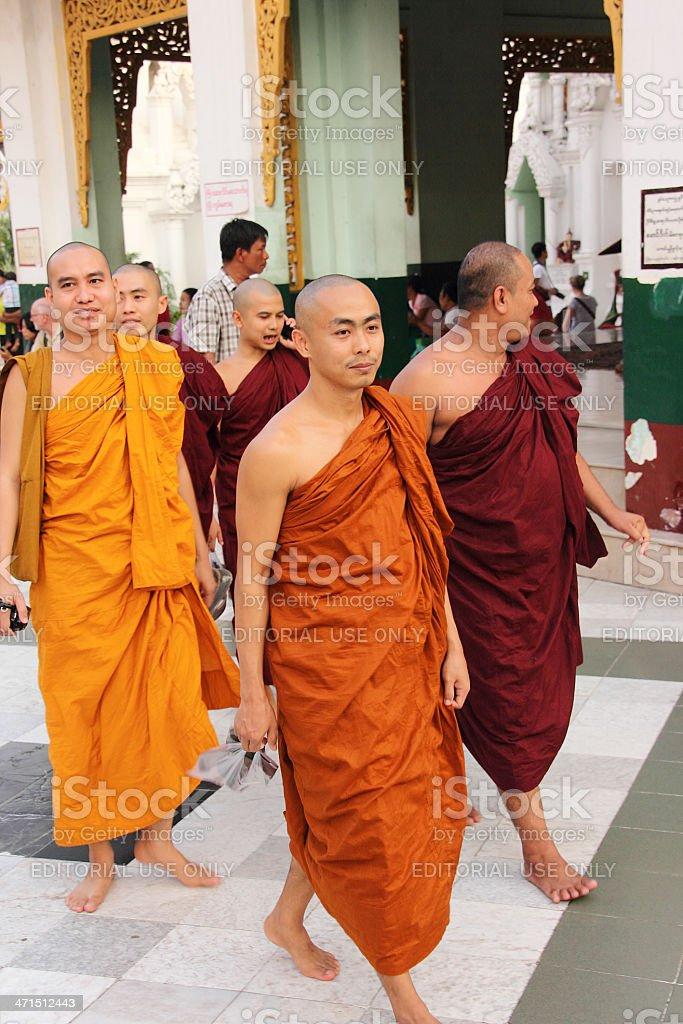 some monchs in Shwedagon Pagoda_Yangon royalty-free stock photo