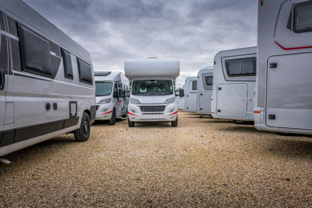 some motor homes for sale some motor homes for sale, some are new and some are pre owned cheap stock pictures, royalty-free photos & images