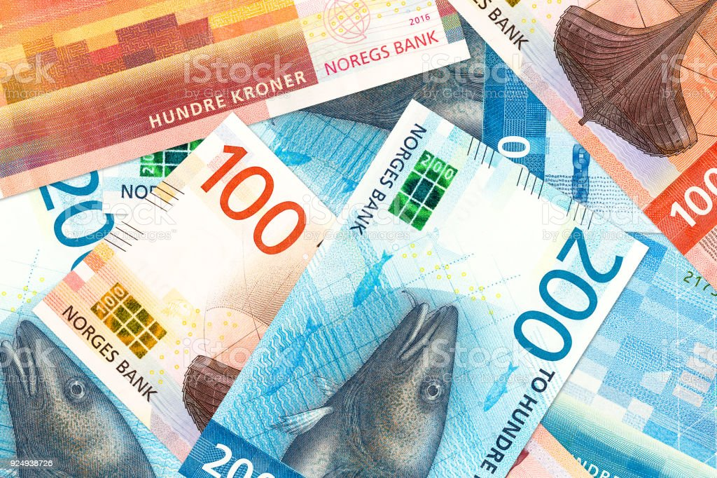 some new 100 and 200 norwegian krone bank note obverse stock photo