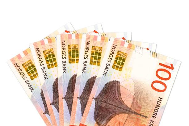 einige neue 100 norwegischen Kronen Banknote Avers – Foto