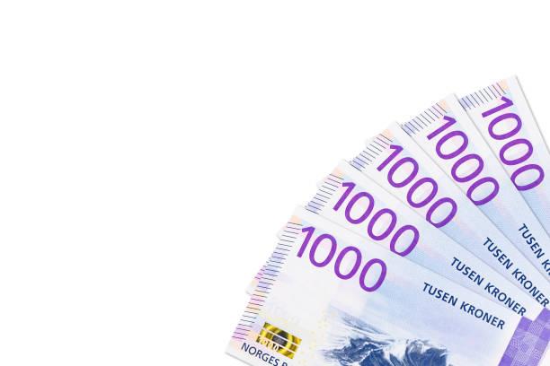 einige neue 1000 norwegische Kronen-Banknoten mit Kopierraum – Foto