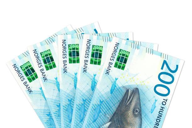 einige neue 200 norwegische Kronen Banknote Avers – Foto
