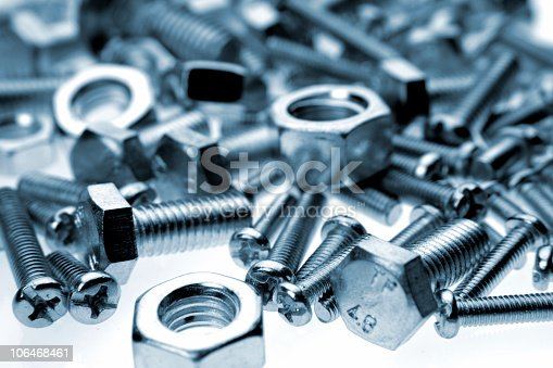 Closeup of steel nuts and bolts. Blue tone. Shallow focus.  [url=/file_closeup.php?id=14064717][img]/file_thumbview_approve.php?size=1&id=14064717[/img][/url]     [url=http://www.istockphoto.com/file_search.php?action=file&order=7&userID=1708942&text=bolts&within=1]Please click here to see other related images in my portfolio[/url]    [url=/file_closeup.php?id=13777183][img]/file_thumbview_approve.php?size=1&id=13777183[/img][/url]                              [url=/file_closeup.php?id=12988490][img]/file_thumbview_approve.php?size=1&id=12988490[/img][/url]