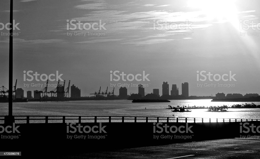 Some of Port of Miami and bay stock photo