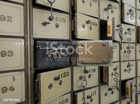 some old bank safes with keys in the cellar of a former bank
