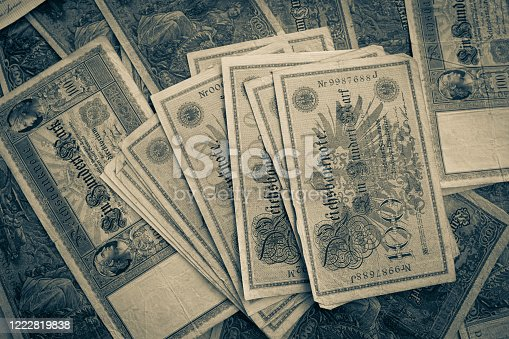 istock some old historical German banknotes lie spread out on a table 1222819838