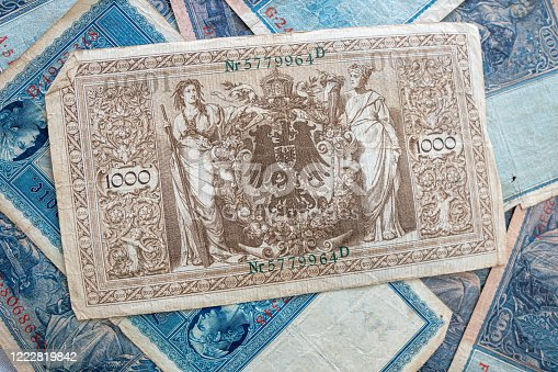 istock some old historical German banknotes lie spread out on a table 1222819842