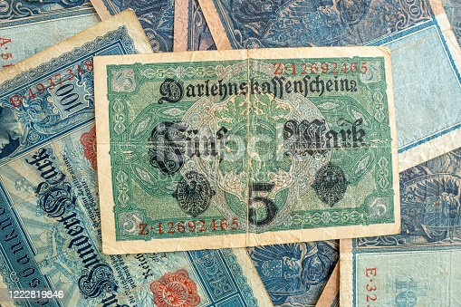 istock some old historical German banknotes lie spread out on a table 1222819846