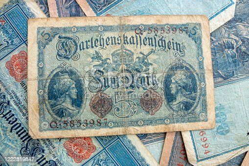 istock some old historical German banknotes lie spread out on a table 1222819847