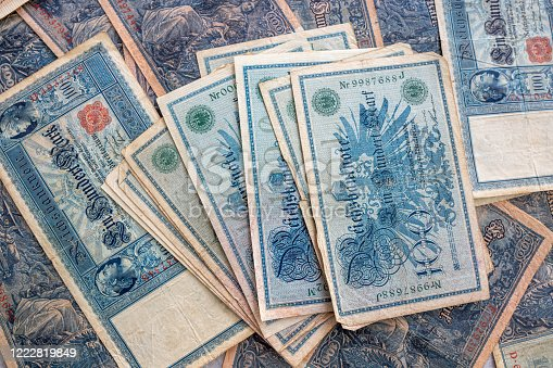 istock some old historical German banknotes lie spread out on a table 1222819849