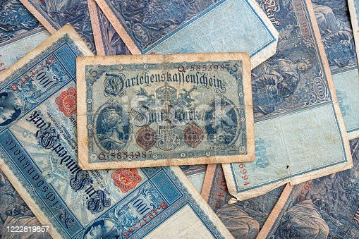 istock some old historical German banknotes lie spread out on a table 1222819857